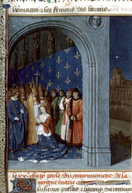 Maria of Brabants coronation in the Sainte Chapelle of Paris - Jean Fouquet