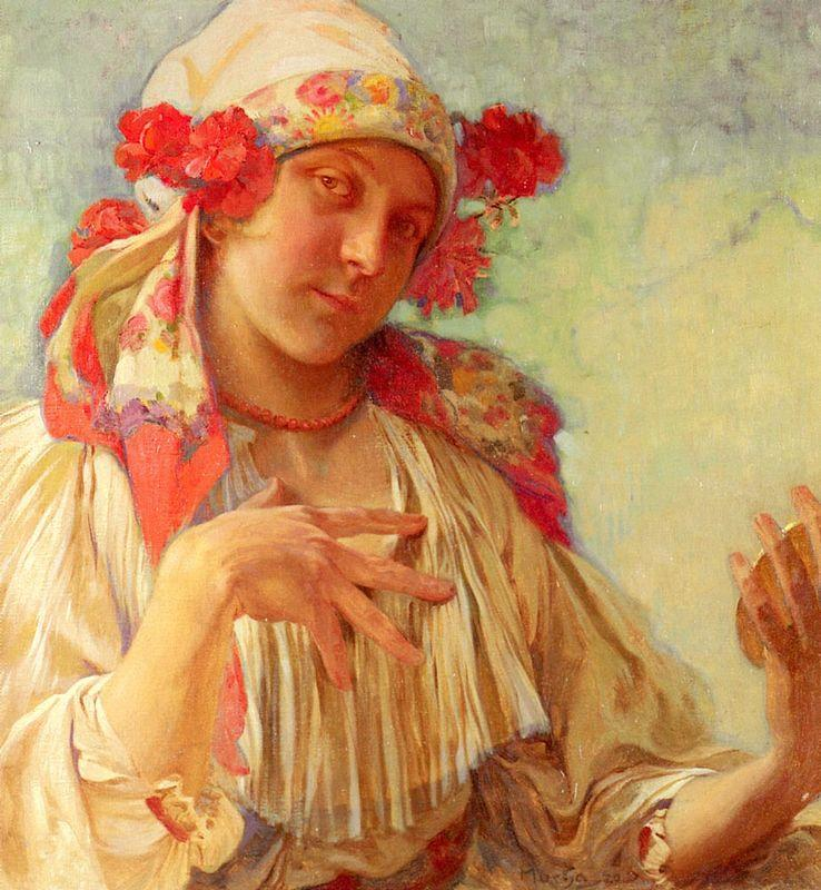 Maria Young Girl In A Moravian Costume - Alphonse Mucha