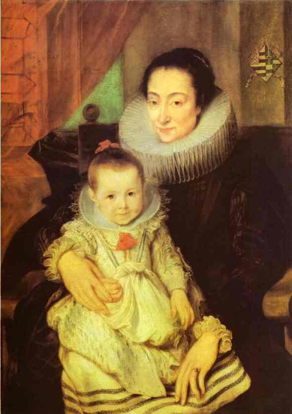 Marie Clarisse, Wife of Jan Woverius, with Their Child - Anthony van Dyck