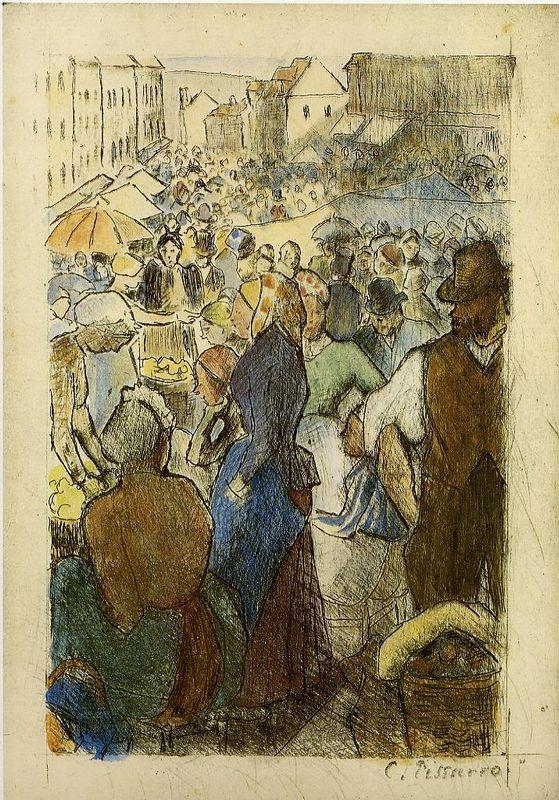 Market at Gisors, Rue Cappeville - Camille Pissarro