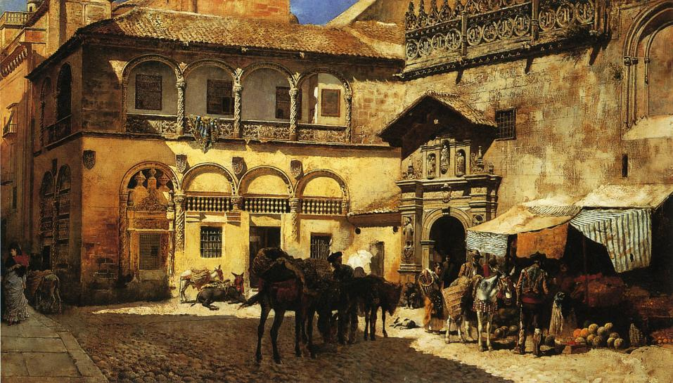 Market Square in Front of the Sacristy and Doorway of the Cathedral, Granada - Edwin Lord Weeks