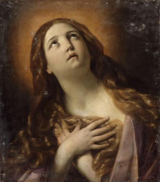 Mary Magdalene in ecstasy at the foot of the cross - Guido Reni