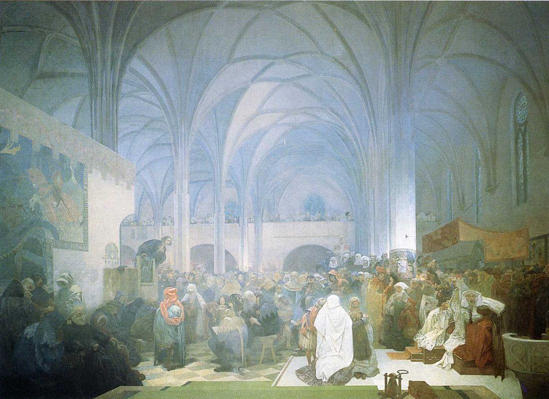 Master Jan Hus Preaching at the Bethlehem Chapel - Alphonse Mucha