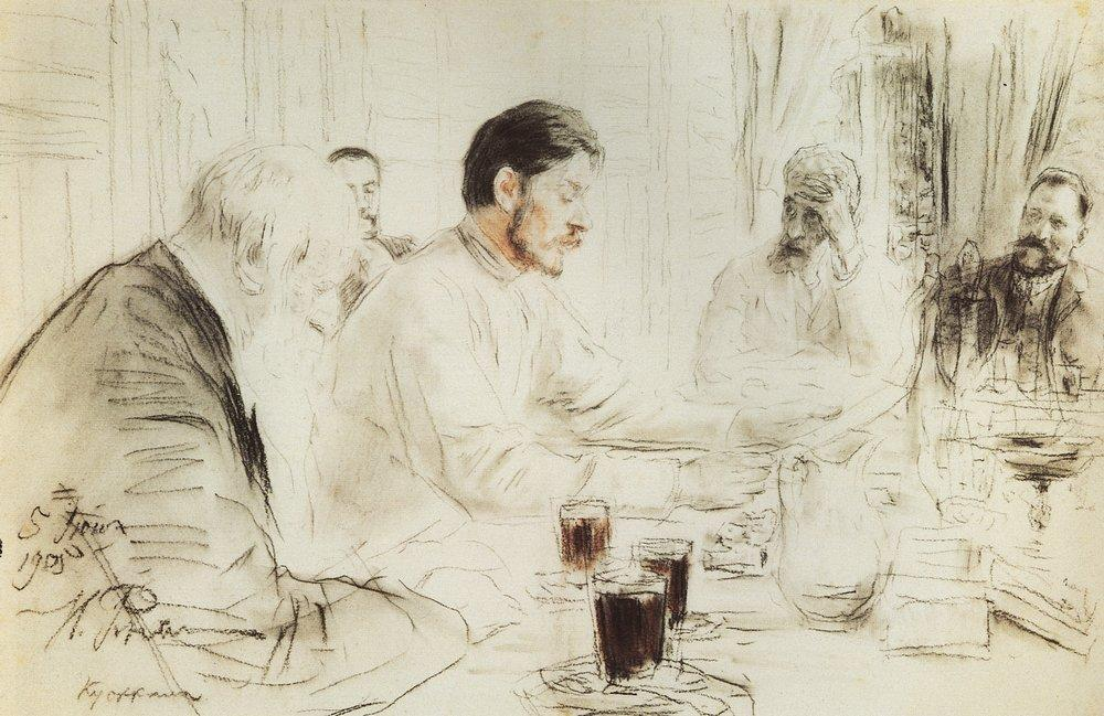 Maxim Gorky reading in The Penates his drama Children of the Sun - Ilya Repin