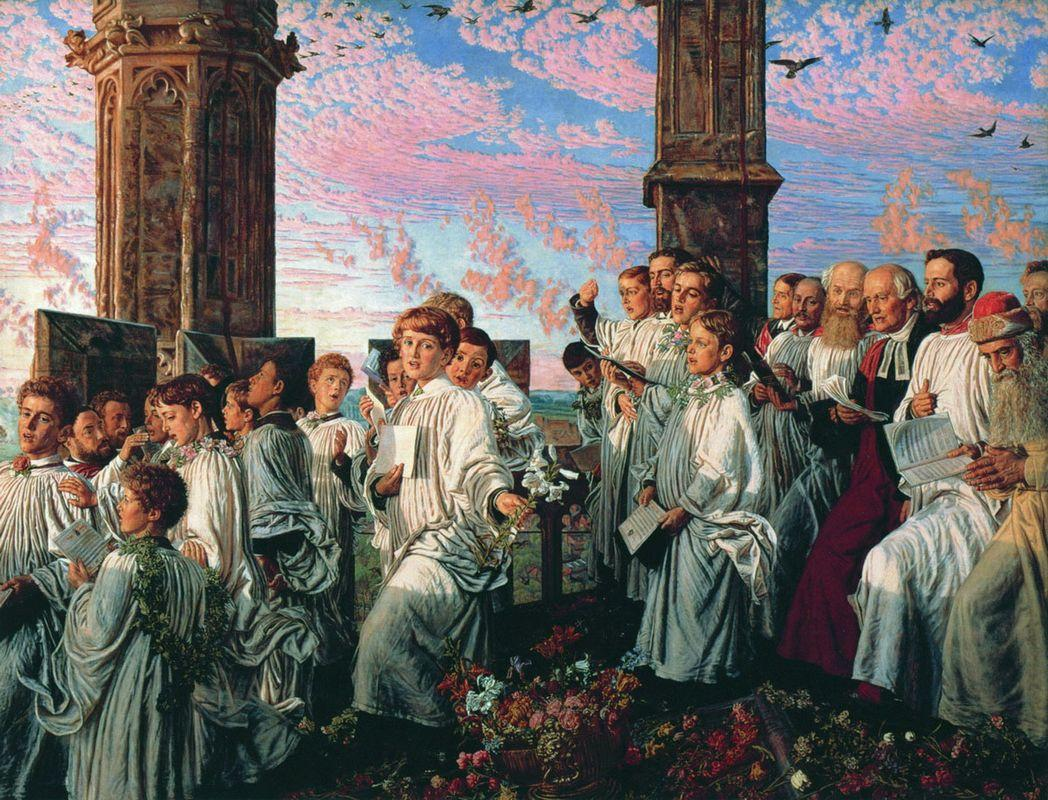 May Morning on Magdalen College Tower, Oxford  - William Holman Hunt