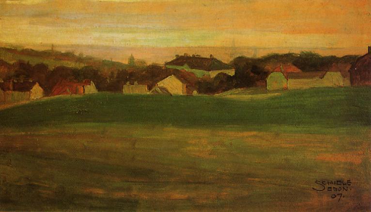 Meadow with Village in Background - Egon Schiele