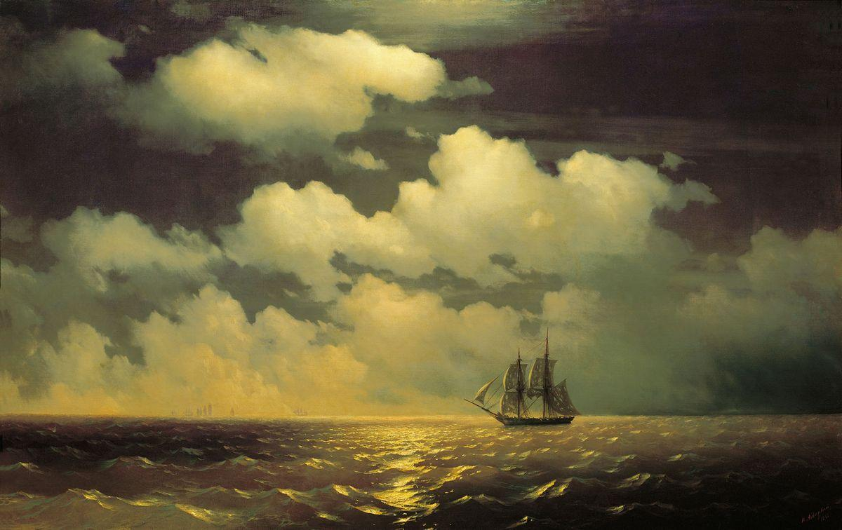 Meeting of the Brig Mercury with the Russian Squadron After the Defeat of Two Turkish Battleships - Ivan Aivazovsky