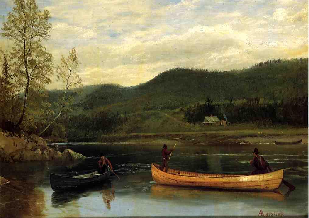 Men in  Two Canoes - Albert Bierstadt