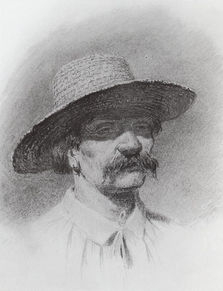 Men's head in a straw hat - Arkhip Kuindzhi