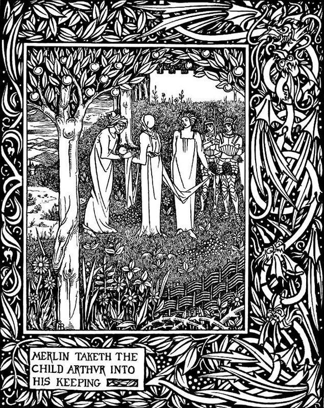 Merlin Taketh the Child Arthur into His Keeping - Aubrey Beardsley