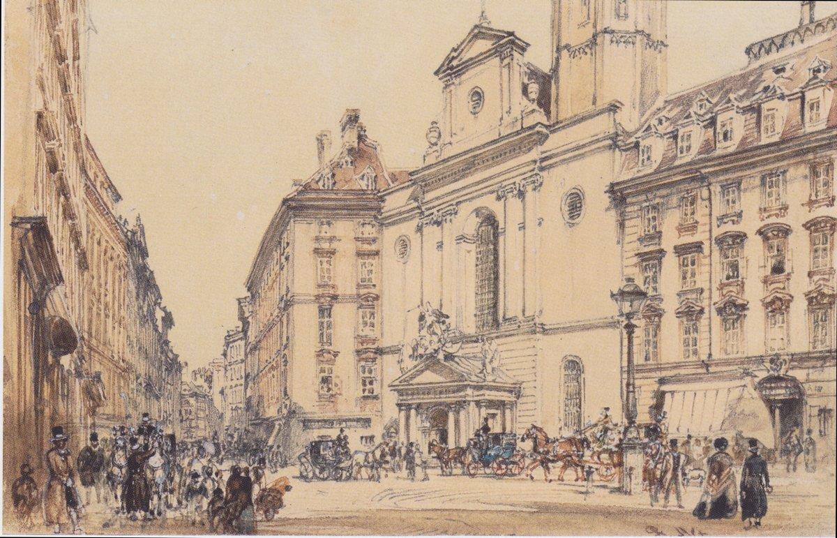 Michaelerplatz and carbon market in Vienna - Rudolf von Alt