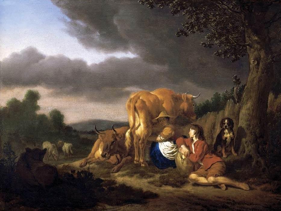 Milking a Cow - Adriaen van de Velde