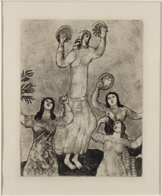 Miriam, sister of Moses, dances with her ??friends to celebrate the deliverance of Israel (Exodus, XV,19-21) - Marc Chagall