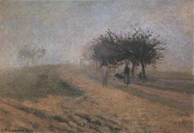 Misty Morning at Creil - Camille Pissarro