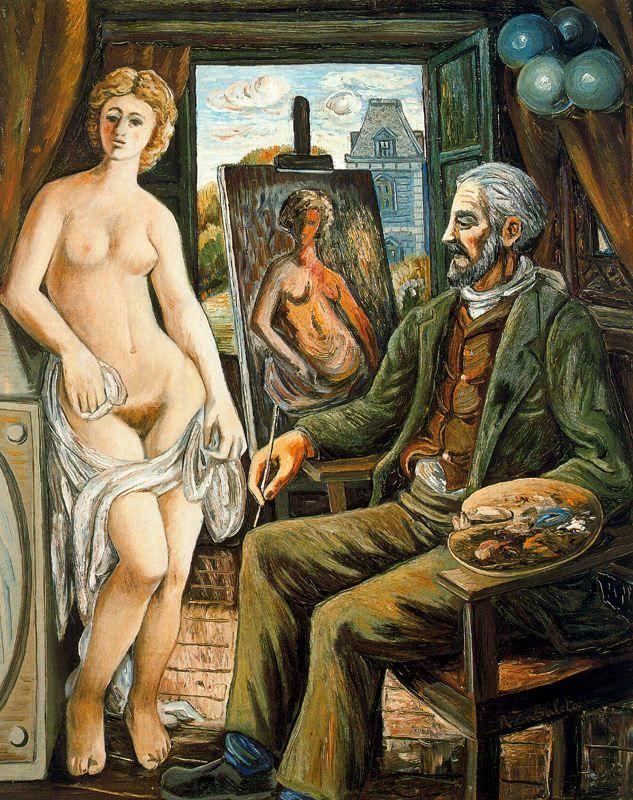 Model and painter with easel - Rafael Zabaleta