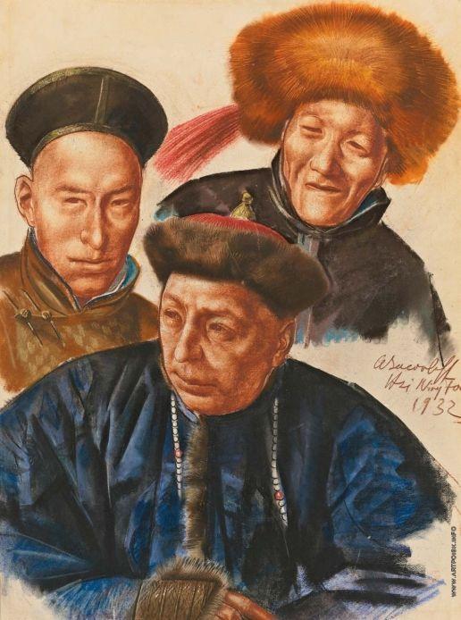 Mongolian Chiefs  - Alexandre Jacovleff