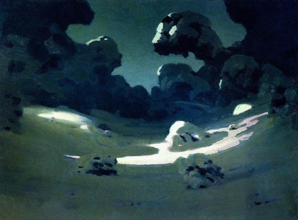 Moonlight in a Forest. Winter - Arkhip Kuindzhi