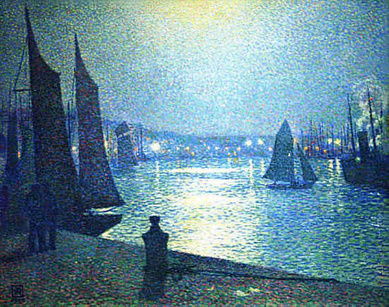 Moonlight Night in Boulogne - Theo van Rysselberghe