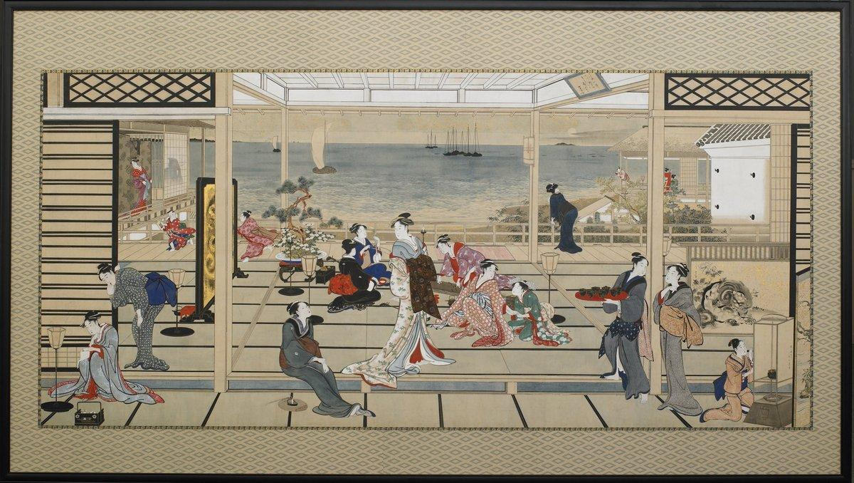 Moonlight Revelry at Dozo Sagami - Kitagawa Utamaro