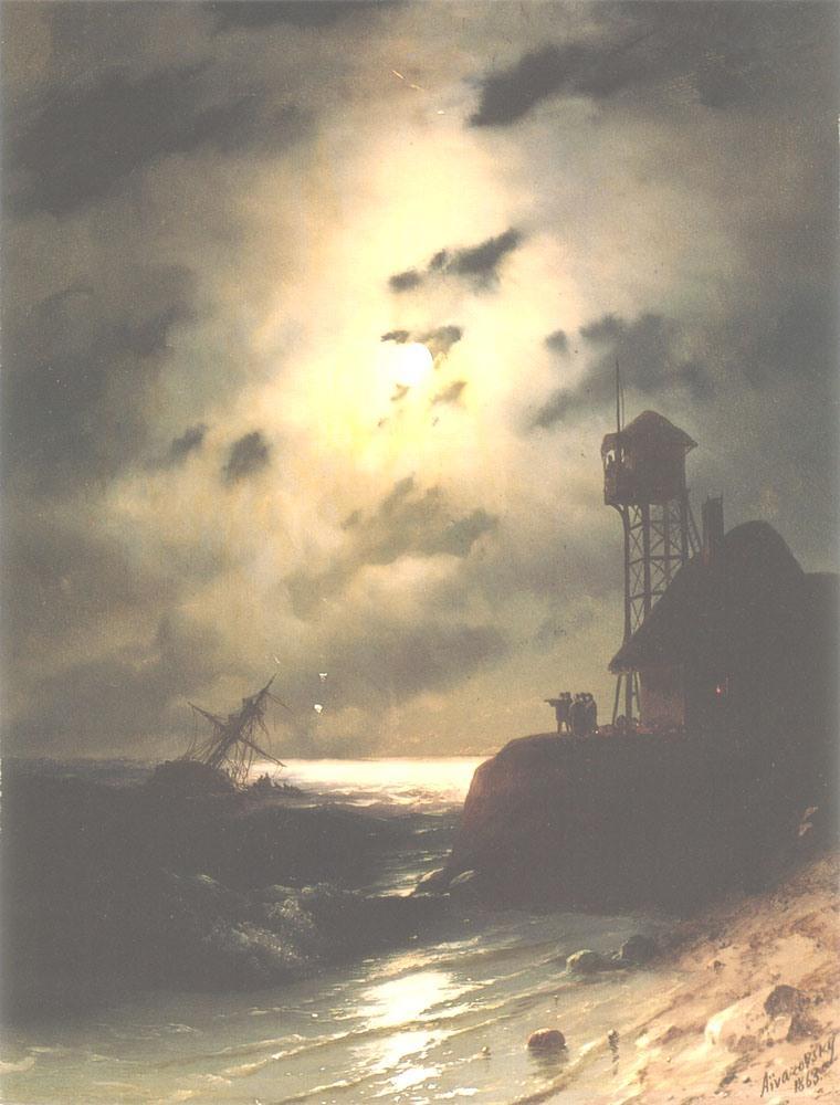 Moonlit Seascape With Shipwreck - Ivan Aivazovsky