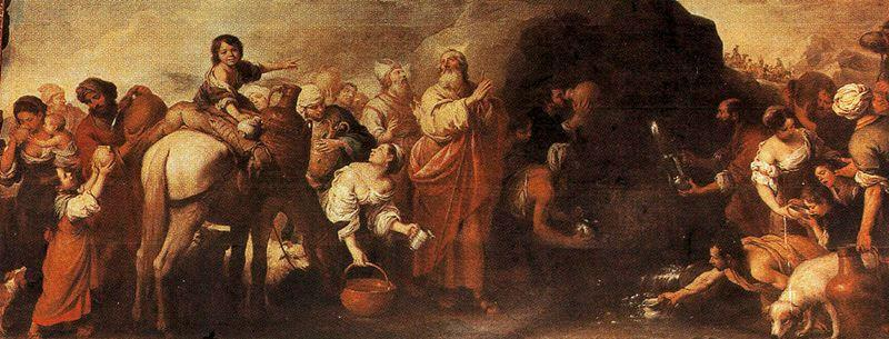 Moses and the water from the rock of Horeb - Bartolome Esteban Murillo