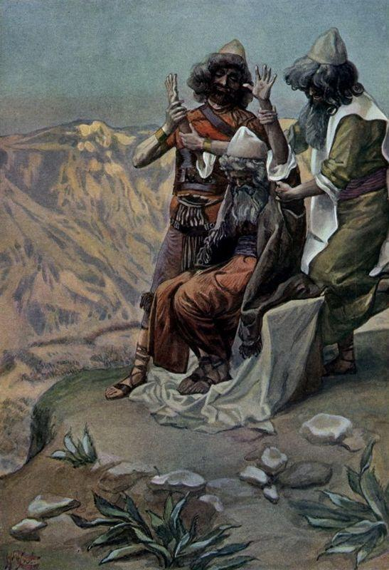 Moses on the Mountain During the Battle, as in Exodus - James Tissot