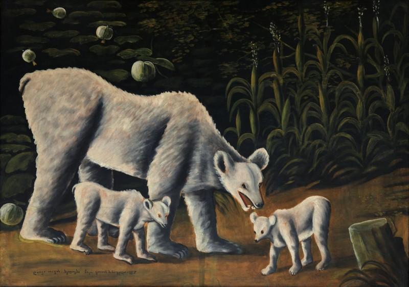 White bear with her cubs (in cornfield) - Niko Pirosmani