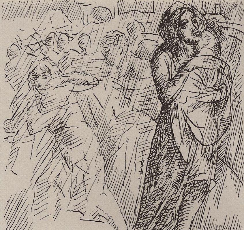 Mother, child saving  - Kuzma Petrov-Vodkin