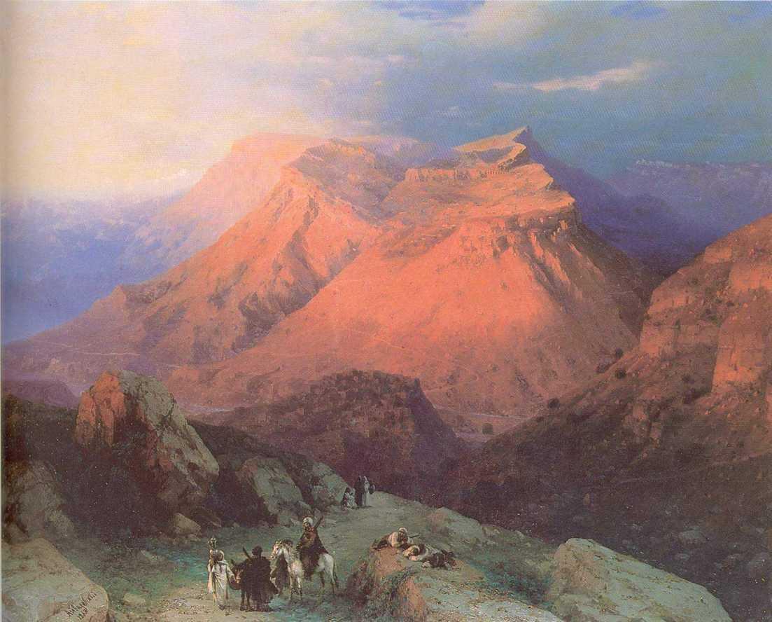 Mountain Village Gunib in Daghestan View from the East - Ivan Aivazovsky