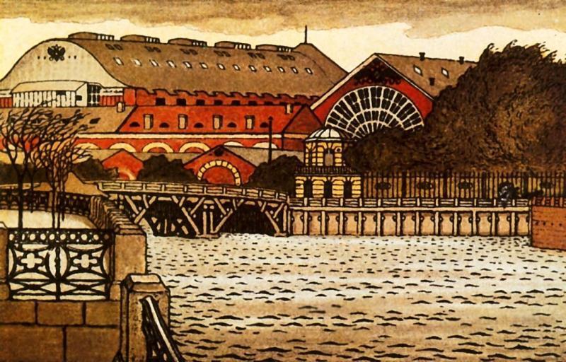 Moyka at the New Admiralty - Mstislav Dobuzhinsky