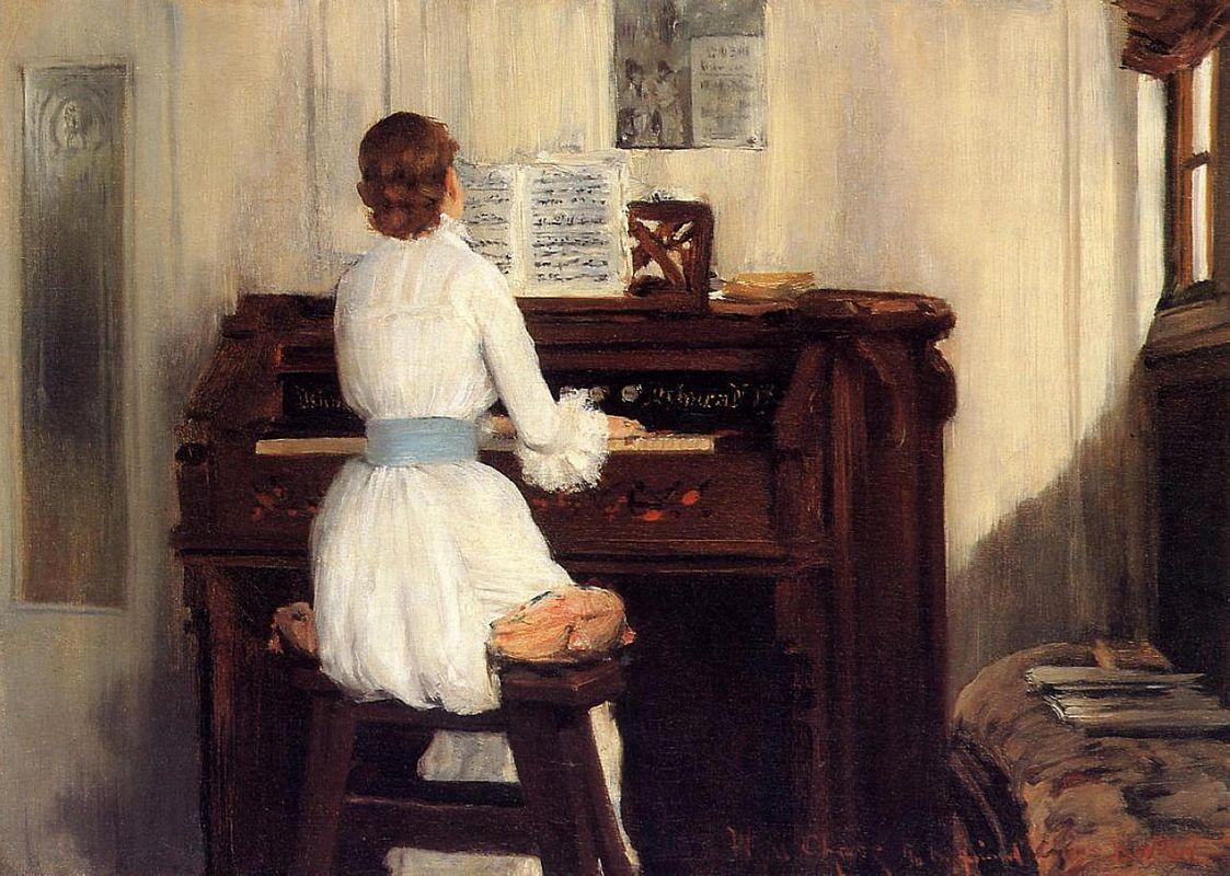 Mrs. Meigs at the Piano Organ - William Merritt Chase