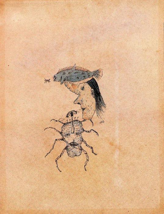 Mujer tocada, a modo de sombrero, con un pez que esta cazando un camaron - Wols