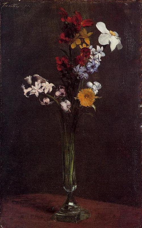 Narcisses Hyacinths and Nasturtiums - Henri Fantin-Latour