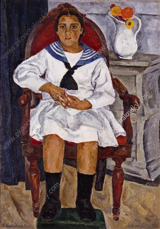 Natasha in a chair - Pyotr Konchalovsky