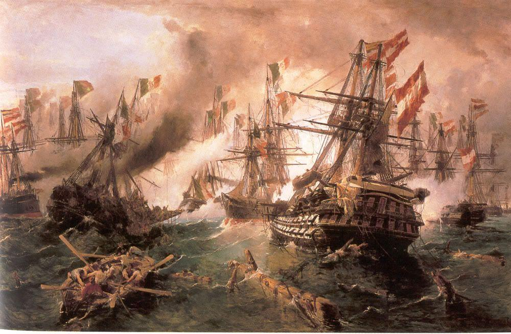 Naval battle at Lissa - Konstantinos Volanakis