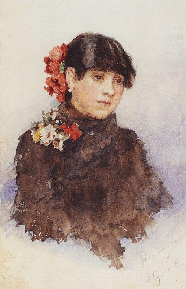 Neapolitan girl with flowers in her hair - Vasily Surikov