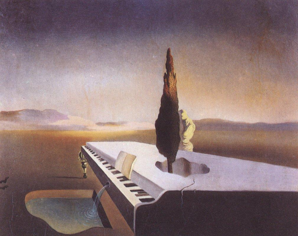Necrophiliac Fountain Flowing from a Grand Piano - Salvador Dali
