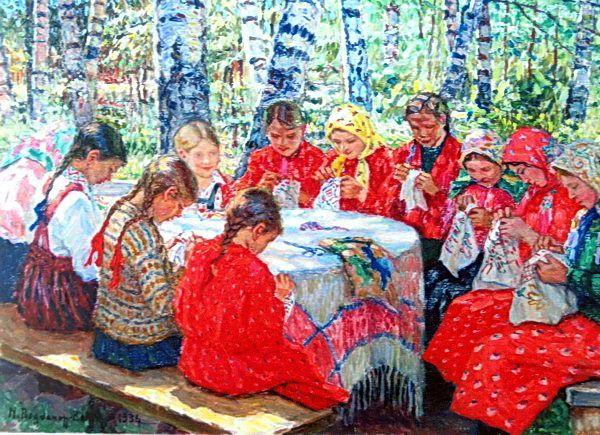 Needlework Classes in a Russian Village - Nikolay Bogdanov-Belsky