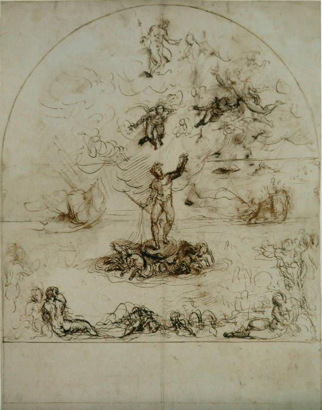 Neptune dispersing the clouds and calming the tides - Agostino Carracci