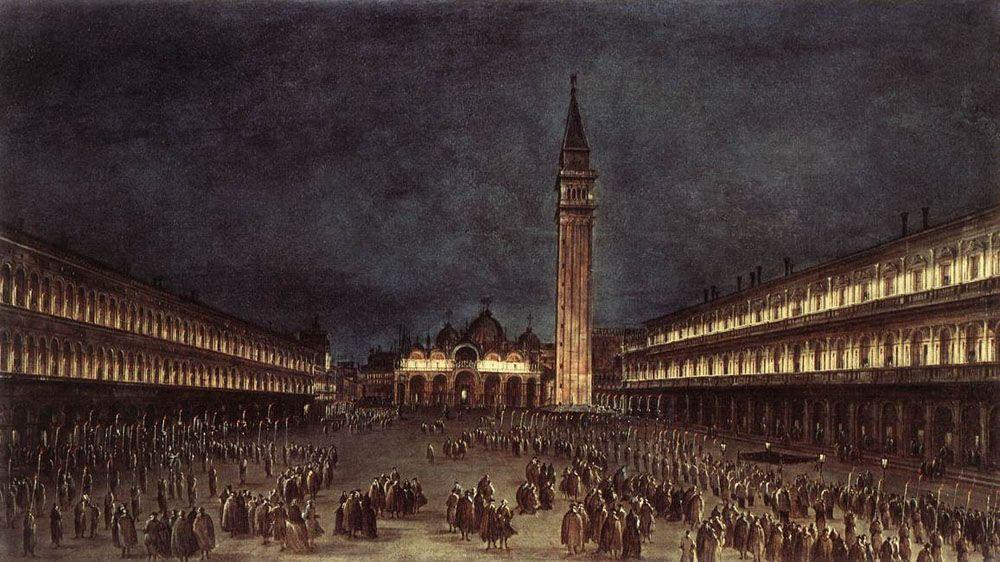 Nighttime Procession in Piazza San Marco - Francesco Guardi