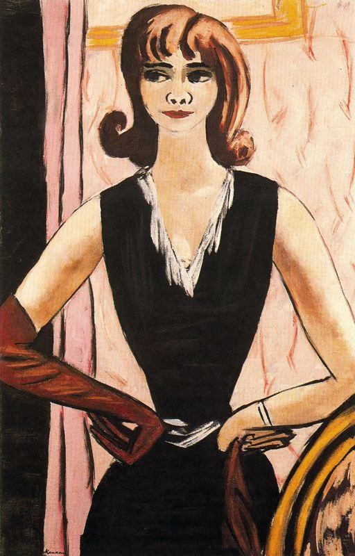 Portrait of Quappi in pink and purple - Max Beckmann