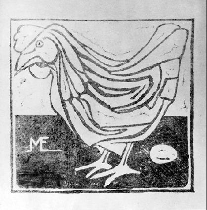 Hen with Egg - M.C. Escher