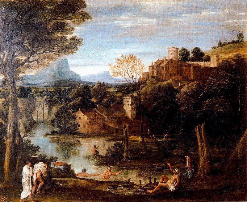Landscape with bathers - Annibale Carracci
