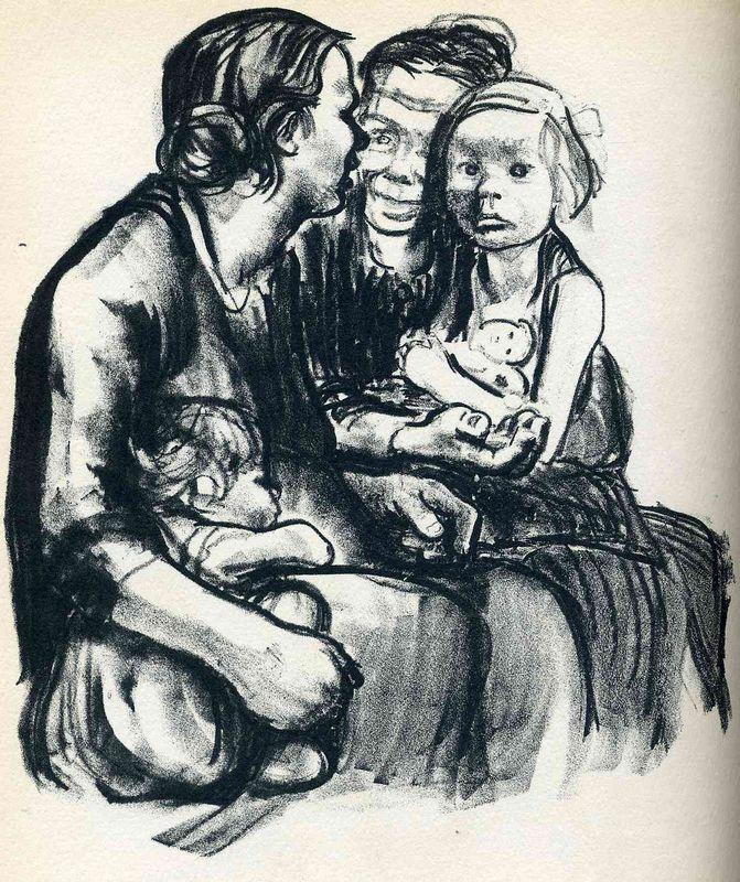 Two Chatting Women with Two Children - Kathe Kollwitz