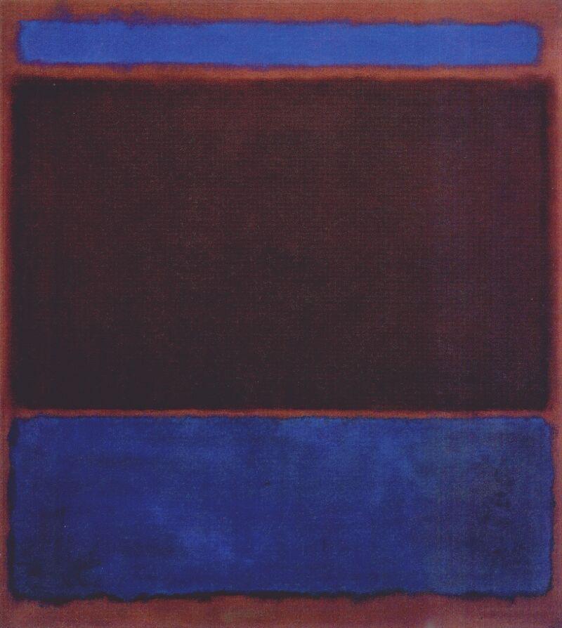 No. 3 (Bright Blue, Brown, Dark Blue on Wine) - Mark Rothko
