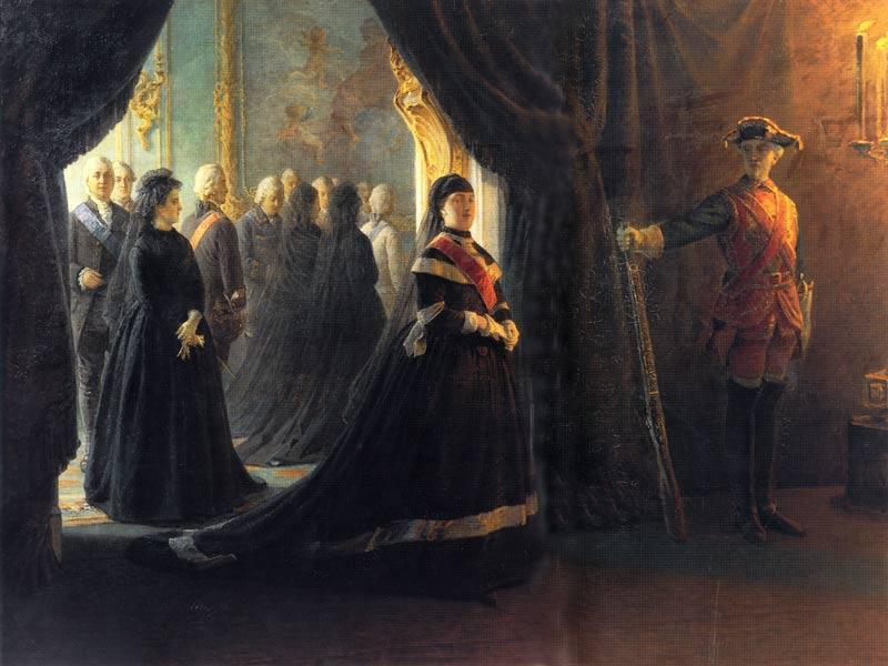Catherine II (1729-96) at the Coffin of Empress Elizabeth (1709-61) - Nikolai Ge