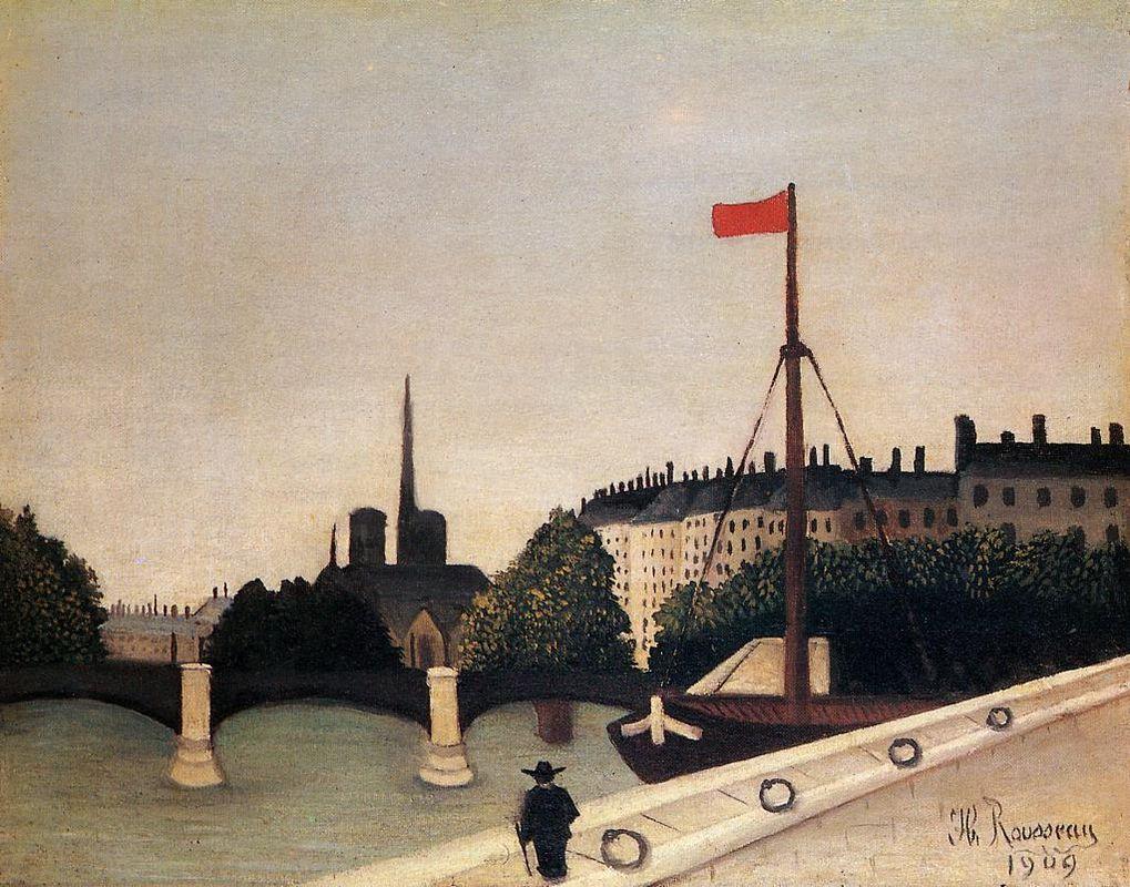 Notre Dame View of the Ile Saint Louis from the Quai Henri IV - Henri Rousseau