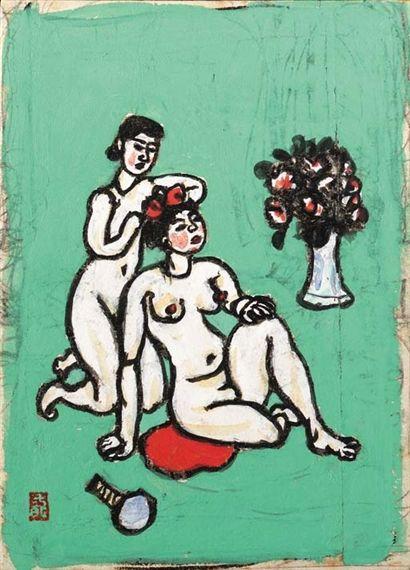 Nude arranging coiffure - Ryuzaburo Umehara