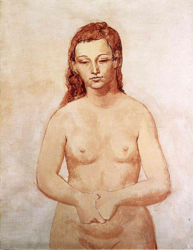 Nude with her hands pressed to each other - Pablo Picasso