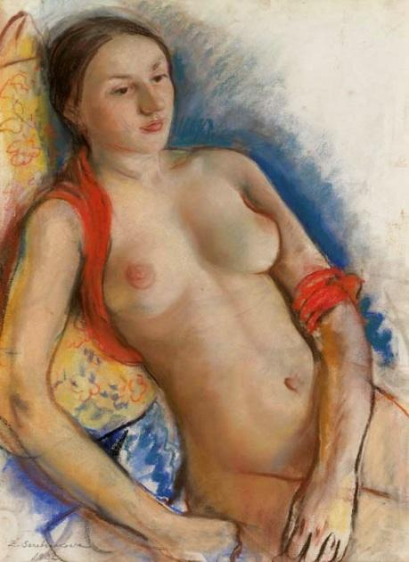 Nude with red scarf - Zinaida Serebriakova